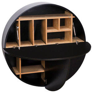 Multifunctional Pill Fold-Out Convertible Wall-Mounted Desk, Black