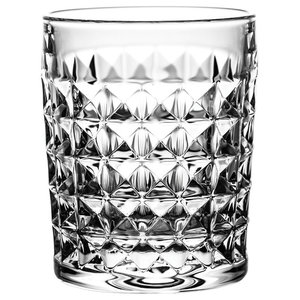 Old-Fashioned Crystal Whisky Glasses With Twist Cut, Set of 6