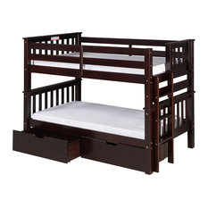 Camaflexi - Santa Fe Mission Low Bunk Bed Twin Over Twin, End Ladder, Drawers, Cappuccino - Bunk Beds