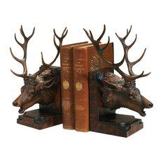 Elk Head Bookends