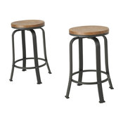 GDF Studio Arlington Natural Wood Rotating Counter Stool, Set of 2