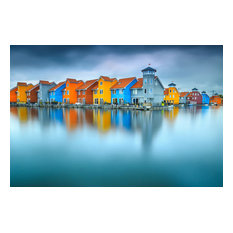 "Blue Morning at Waters Edge Groningen Netherlands Wall Art Prints, 20""x24"""