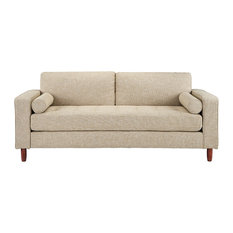 Modern Contemporary Linen 3-Seat Sofa With Bolster Pillows, Beige