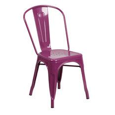 Purple Metal Indoor Outdoor Stackable Chair