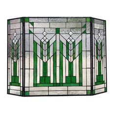 "CHLOE Lighting Benjamin Mission 3pcs Folding Tiffany-glass Fireplace Screen, 38"""