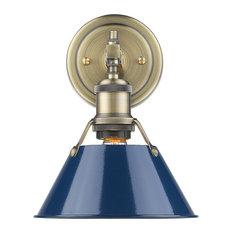 1-Light Bath Vanity, Navy Blue, Aged Brass Shade
