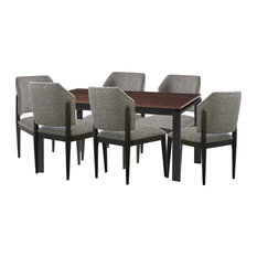 Universal Furniture Spaces Clayton 7pc Dining Table Set Walnut Top#736
