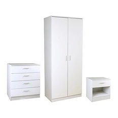 High Gloss White 3 Piece Bedroom Furniture Set Wardrobe, Chest, Bedside Cabinet