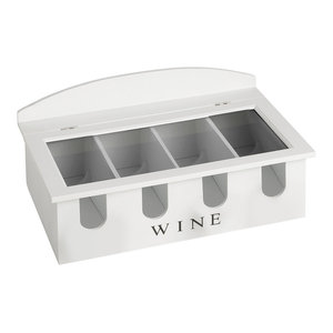 Connoisseur Wooden 4-Bottle Wine Display Case, White