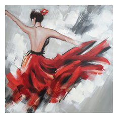 International Image & Canvas - Abstract Hand Painted Dancing Girl in Red Dress I Oil Painting - Paintings