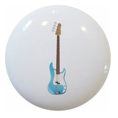 Blue Guitar Ceramic Cabinet Drawer Knob