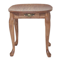 The Oak Furniture Shop   Solid Oak Queen Anne End Table With Drawer, Golden  Oak