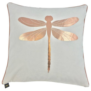 Fly Metallic Cushion Cover, White and Rose