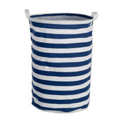 "DII Cotton/Polyester Laundry Hamper Stripe Nautical Blue Round 14""x14""x20"""