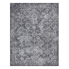Tiera Transitional Damask Gray & Cream Rectangle Area Rug, 8'x10'