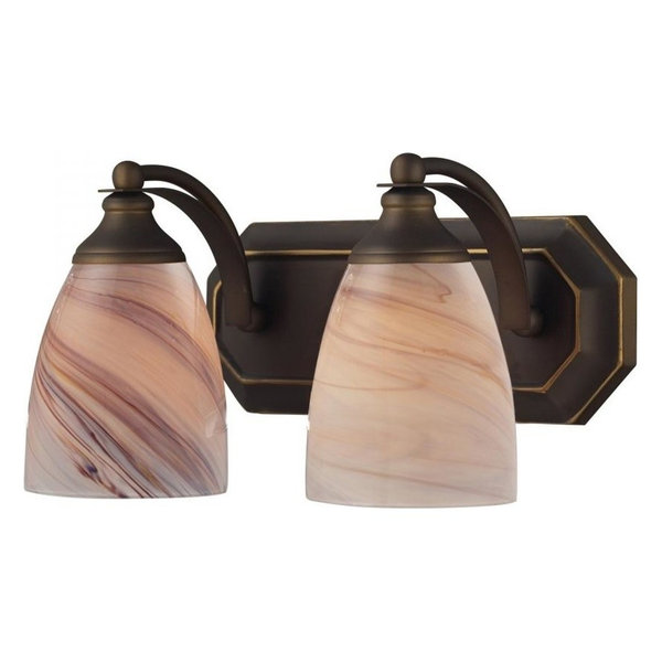 Bath and Spa 2-Light Vanity, Aged Bronze and Creme Glass