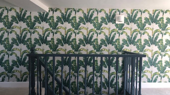 Wallpapering living room feature wall and strait case