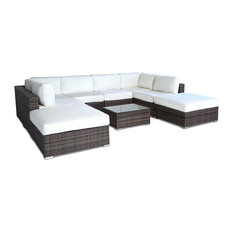 Outdoor Patio Furniture All-Weather Wicker Sectional, 9-Piece Set