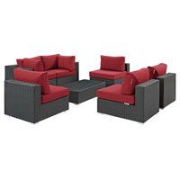 Sojourn 7-Piece Outdoor Wicker Rattan Sunbrella Sectional Set, Canvas Red