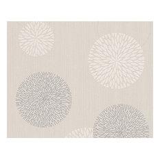 Best of Vlies, Floral Patterns Modern Classic Stripes Cream Wallpaper Roll