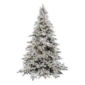 Flocked Utica Fir Tree, 4.5', Warm White Led Lights