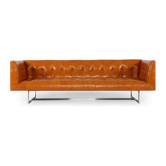 Edward Midcentury Modern Premium Leather Sofa, Tan Aniline