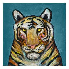 """Tiger on Cerulean"" Canvas Wall Art by Eli Halpin, 14""x14"""