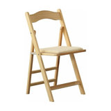 Foldable Chair, Solid Pine Wood With Padded Cushioned Seat, Beige