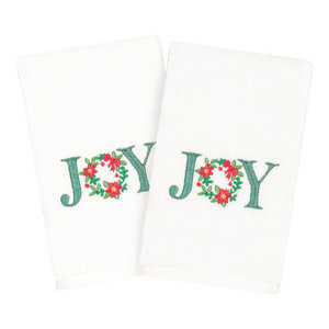Linum Home Textiles Christmas Joy Hand Towels, Set Of 2, White