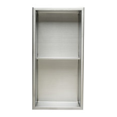 "Vertical Double Shelf Bath Shower Niche, 12""x24"", Brushed Stainless Steel"