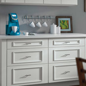 White Cabinets with K-Cup Storage - Decora Cabinetry