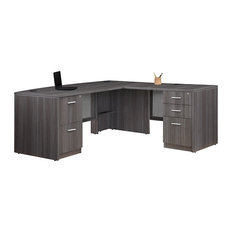 "At Work Bow Front L-Desk, 71""x77"" Gray Laminate"