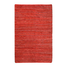 "St. Croix Matador Leather Chindi Red 1'9""x2'10"" Rug"