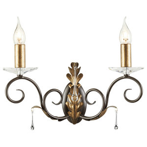 Amarilli 2-Light Wall Lamp, Bronze and Gold