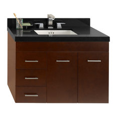 Ronbow 36-inch Bella Solid Wood Wall Mount Vanity Base Cabinet Dark Cherry Right