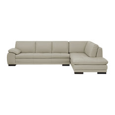 P16   Cercis Leather Sectional Right Chaise, Silver   Sectional Sofas