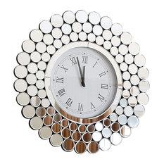 abbyson living radiance round wall mirror clock wall clocks