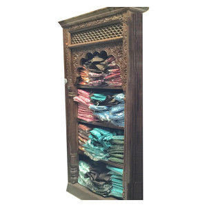 Mogulinterior - Reclaimed Wood Book Shelf Antique Bookcase Indian Hand Carved Furniture - Bookcases
