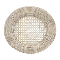 KOUBOO - Round Rattan Charger Plate, White Wash, Set of 2 - Charger Plates