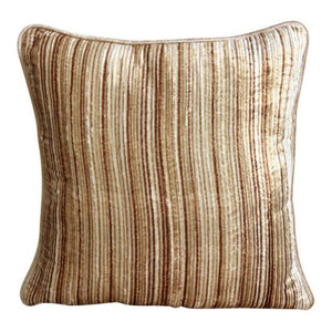 Beige Abstract Stripes Cushion Cover, 50x50 Velvet Cushion Cover, Brown Stripes