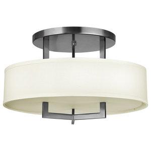 Modern Semi-Flush Ceiling Pendant, Antique Nickel