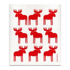 Jangneus - Swedish Dishcloth, Moose, Red - Dish Towels