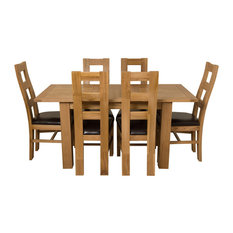 Hampton Oak Extending Dining Table With 6 Yale Chairs, 120-160 cm