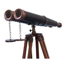 Floor Standing Admiral's Bronzed With Leather Binoculars 62'' Telescope