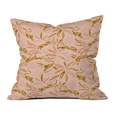 """Deny Designs Evamatise Panthers and Tropical Plants, Blush Outdoor Pillow, 18"""""""