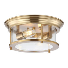 "Lauren 13.25"" Metal and Glass Led Flush Mount, Brass Gold and Clear"
