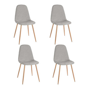 Contemporary Set of 4 Chairs Upholstered, Light Grey Fabric With Metal Legs