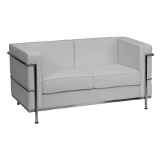 Le Corbusier Style Regal Series Contemporary White Leather Love Seat