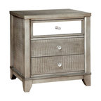Furniture of America Lillianne 3 Drawer Nightstand in Silver