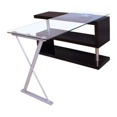 Buck Office Desk, Clear Glass and Black
